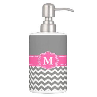 Gray and Pink Chevron Monogram Bathroom Set