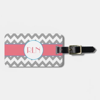 Gray and Pink Chevron Monogram Luggage Tag