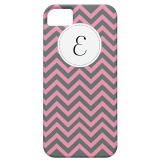Gray and Pink Chevron Pattern Monogram iPhone 5 iPhone 5 Cases