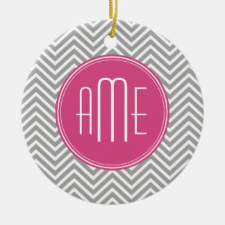 Gray and Pink Chevrons with Custom Monogram Christmas Ornament