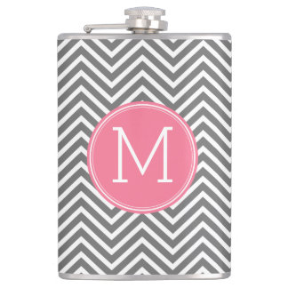 Gray and Pink Chevrons with Custom Monogram Hip Flask