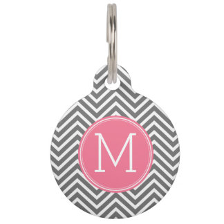 Gray and Pink Chevrons with Custom Monogram Pet Tag