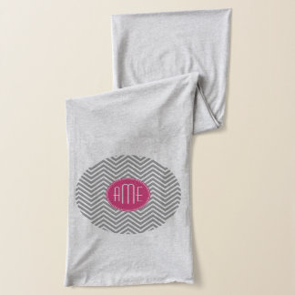 Gray and Pink Chevrons with Custom Monogram Scarf