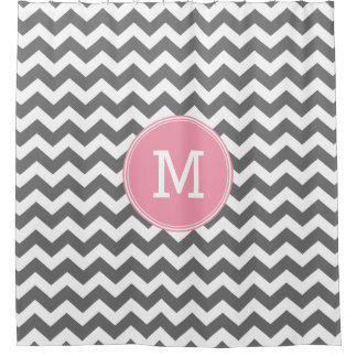 Gray and Pink Chevrons with Custom Monogram Shower Curtain