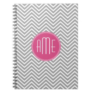 Gray and Pink Chevrons with Custom Monogram Spiral Notebook