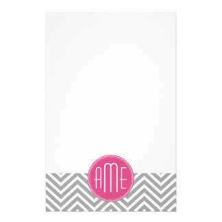 Gray and Pink Chevrons with Custom Monogram Stationery