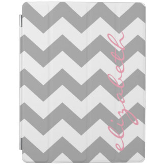 Gray and Pink Chevrons with Custom Name iPad Cover