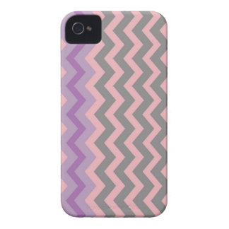 Gray and Pink Chevrons With Purple Border iPhone 4 Covers