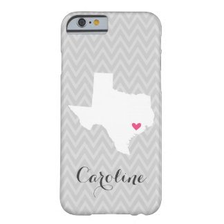 Gray and Pink Cute Texas Love Chevron Monogram Barely There iPhone 6 Case