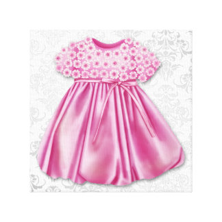 Gray and Pink Damask Dress Pink Dress Baby Girl Gallery Wrap Canvas