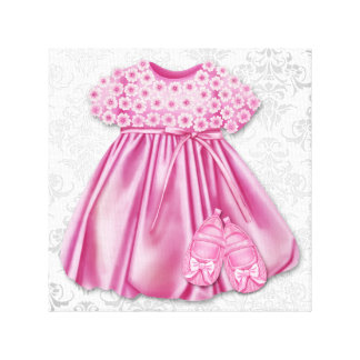 Gray and Pink Damask Dress Pink Dress Baby Girl Canvas Prints