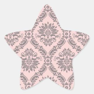gray and pink damask pattern star sticker