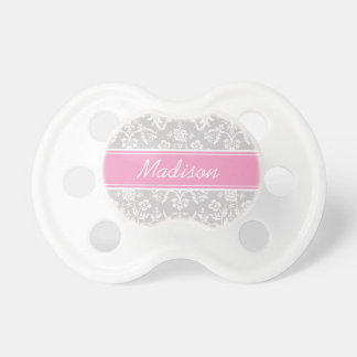 Gray and Pink Floral Damask Custom Monogram Baby Pacifiers