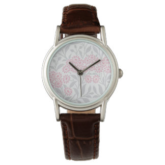 Gray and Pink Floral Damask Pattern Wrist Watch
