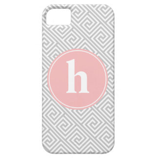 Gray and Pink Greek Key Pattern Monogram iPhone 5 Covers