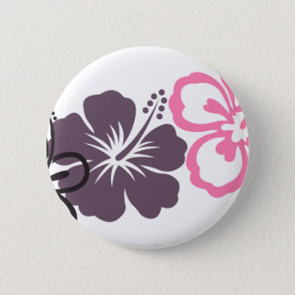 gray and pink hibiscus Hawaiian  theme 6 Cm Round Badge
