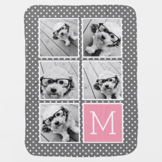 Gray and Pink Instagram 5 Photo Collage Monogram Baby Blanket