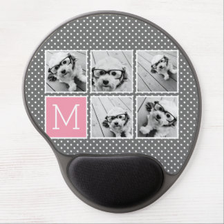 Gray and Pink Instagram 5 Photo Collage Monogram Gel Mouse Mat