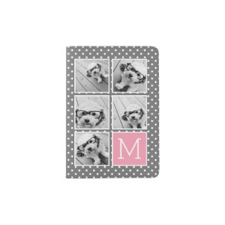 Gray and Pink Instagram 5 Photo Collage Monogram Passport Holder
