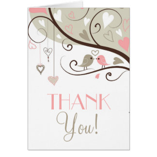 Gray and Pink Love Birds Wedding Thank You Card