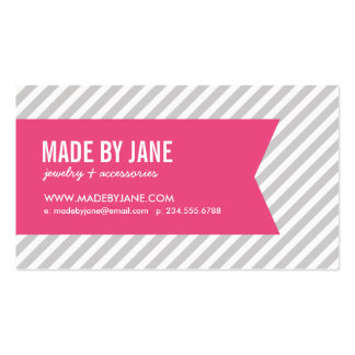 Gray and Pink Modern Stripes Social Media Business Card Template