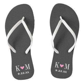 Gray and Pink Modern Wedding Monogram Flip Flops
