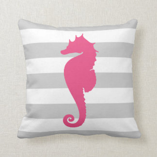 Gray and Pink Nautical Stripes and Cute Seahorse Cushion