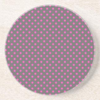 Gray and Pink Polka Dots Sandstone Coaster