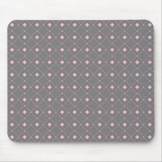 Gray and Pink Squares; Diamonds Pattern Mouse Pad