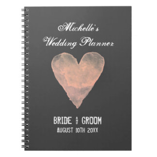 Gray and pink wedding planner organizer notebook