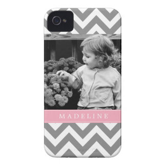 Gray and Pink Zigzags Personalized Photo iPhone 4 Case