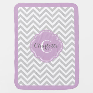 Gray and Purple Chevron Monogram Baby Blanket