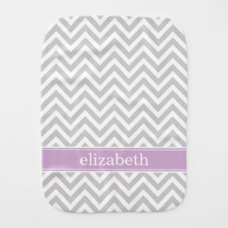 Gray and Purple Chevron Monogram Burp Cloth