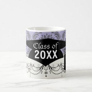 gray and purple damask graduation basic white mug