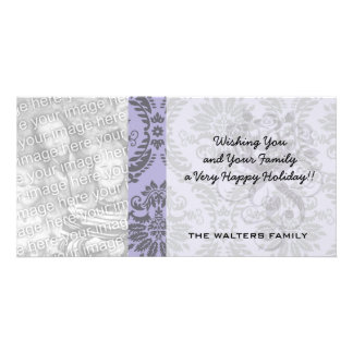 gray and purple damask photo card