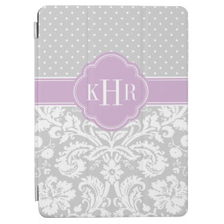 Gray and Purple Damask Polka Dots Monogram iPad Air Cover
