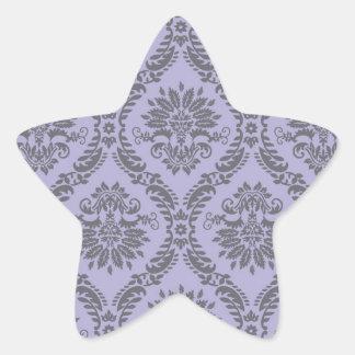 gray and purple damask star sticker
