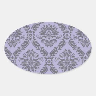 gray and purple damask oval sticker