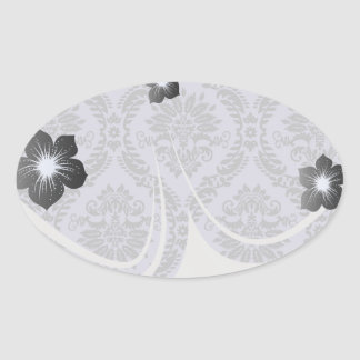 gray and purple damask oval stickers