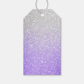 Gray and Purple Glitter Image Gift Tags