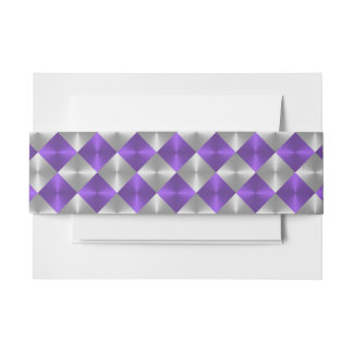 Gray and Purple Metallic Looking Squares Invitation Belly Band