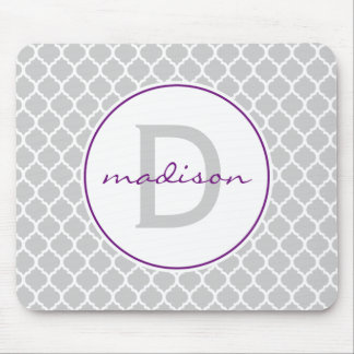 Gray and Purple Quatrefoil Monogram Mouse Mat
