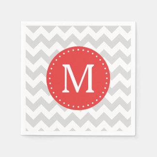 Gray and Red Chevron Custom Monogram Paper Napkin