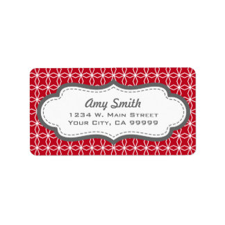 Gray and Red Geometric Address Labels