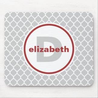 Gray and Red Quatrefoil Monogram Mouse Mat