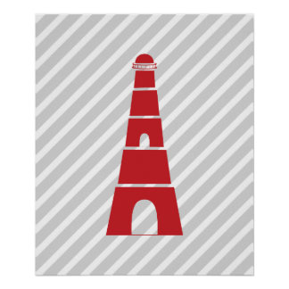 Gray and Red Striped Nautical Lighthouse Poster