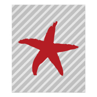 Gray and Red Striped Nautical Sea Star Poster