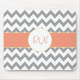 Gray and Salmon Chevron Striped Monogram Mouse Mat