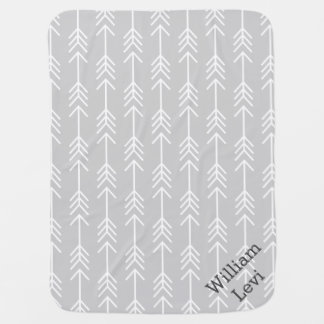 Gray and Seafoam Arrows Monogram Baby Blankets
