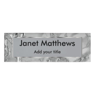 Gray and Silver Marble and Silver Texture Design Name Tag